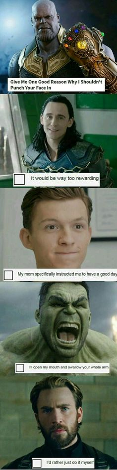 Ummm… Peter doesn't have a mom, but I'm still gonna pin this - Marvel Fan Arts and Memes Funny Marvel Memes, Dc Memes, Marvel Jokes, Avengers Memes, Marvel Dc Comics, Marvel Avengers, Captain Marvel, Thanos Marvel, Marvel Universe