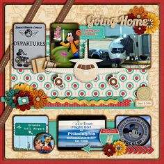 LOTS and LOTS and LOTS of fun layout ideas here including this Going Home Disney scrapbook layout