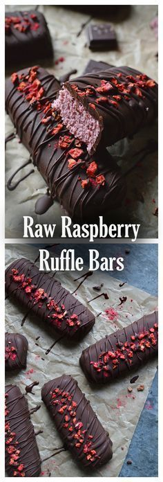 Raw raspberry Ruffle bars, with a creamy coconut and raspberry centre, smothered in raw dark chocolate. Raw raspberry Ruffle bars, with a creamy coconut and raspberry centre, smothered in raw dark chocolate. Desserts Crus, Raw Vegan Desserts, Vegan Treats, Raw Food Recipes, Sweet Recipes, Dessert Recipes, Vegan Raw, Paleo Dessert, Vegan Life