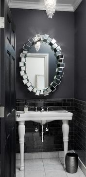 Silver Leaf Construction & Renovation added our regal Royce Mirror to this sleek powder room. Bathroom Spa, Small Bathroom, Black Bathrooms, Bathroom Inspiration, Home Decor Inspiration, Crystal Tree, Home Decor Furniture, Powder Room, House Design