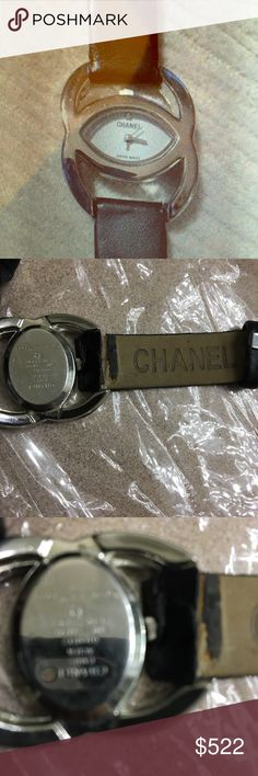 Vintage Chanel Women's Watch, Limited Edition:1993 Vintage Chanel Women's Watch from 1993 : Limited Edition and Rare. Silver tone with bold CC logo face.  ( see pics) working and good condition other than band . Original leather wristbands straps need to be replaced but buckle and band hardware are in good condition and can be used on new band. CHANEL Jewelry