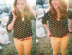 Wow, now this is cute. I love the polkadot blouse with this colored jean. Who whudda thought.