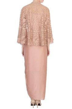 Buy Pale pink net cape set by AQube by AMBER at Aza Fashions Dress Brokat Modern, Kebaya Modern Dress, Kebaya Dress, Kebaya Lace, Batik Fashion, Skirt Fashion, Fashion Dresses, Batik Dress, Lace Dress