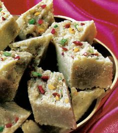 A traditional Indian dessert, burfee or burfi makes a tasty fudg-like treat for any occasion, be it the celebration of light, colour or pistachios.