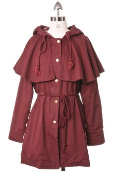 Military Style Jacket in Red Wine