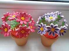 Quilled flowers in pot