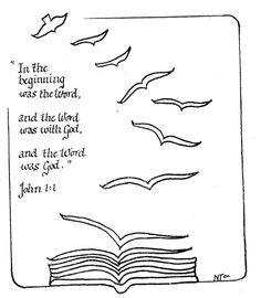 John 1:1 illustrated as a dove (symbol the Holy Spirit) becoming a book (symbol of the Word of God)