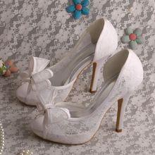d815a7a18d Dedo del pie abierto increíble nupcial zapatos encaje zapatos blancos de tacones  altos zapatos de boda