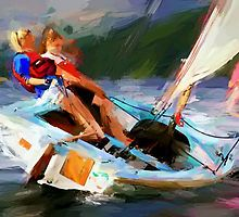 Two Girls Sailing by Tom  Sachse