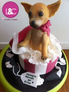 Chihuahua cake @Becky Hui Chan Criste I'M JUST SAYING A CAKE THAT LOOKED LIKE MY DOODLE BUG WOULD BE AWESOME!