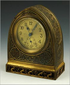 Tiffany Studios Bronze Venetian Pattern Chelsea Desk Clock