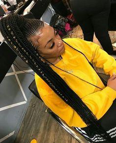 Braids With Weave Hairstyles Cornrows Natural Hair 17 Ideas Braided Ponytail Black Hair, Feed In Braids Ponytail, Cornrow Ponytail, Weave Ponytail, Braided Ponytail Hairstyles, Black Girl Braids, Braids With Weave, African Braids Hairstyles, Braids For Black Hair
