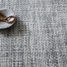 Mid-Century Heathered Basketweave Wool Rug - Steel   west elm