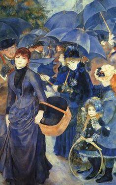 Pierre-Auguste Renoir - The Umbrellas. Renoir was a French artist who was a… Pierre Auguste Renoir, Art And Illustration, Illustrations, Monet, Art Amour, Art Et Architecture, Umbrella Art, Impressionist Art, Post Impressionism
