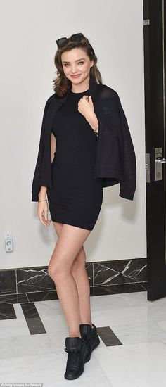 The shoes have it: Miranda Kerr made her trainers look terrific when she attended the Reebok Business Luncheon on Thursday, in LA, wearing the ubiquitous trainer brand for which she is an ambassador