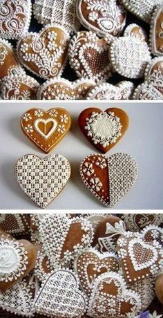 ich möchte, dass wir jemanden einladen, der soooo was macht! I have no idea what this says, but the pictures are so pretty, I just had to save this :) Gingerbread Decorations, Christmas Gingerbread, Noel Christmas, Christmas Goodies, Christmas Treats, Christmas Baking, Gingerbread Cookies, Fancy Cookies, Royal Icing Cookies