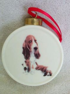 Basset Hound Dog  Round Drum Shape Christmas Tree Ornament fired Decal