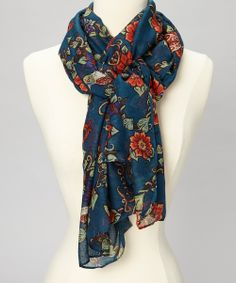 Lagoon Blue & Orange Floral Scarf | Daily deals for moms, babies and kids