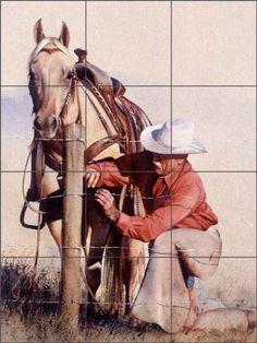 Tile Mural Backsplash Ceramic Fawcett Western Cowboy Horse Fence Art JFA006