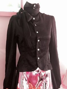 INGWA MELERO BLACK sz 6 SILK BOW CARIER  TOP SHIRT BLOUSE MEDIUM  BUTTONS UP #INGWAMELERO #Blouse