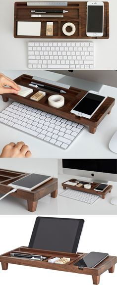 A Black Walnut Wooden Office Desk Organizer iPhone Cell Phone Charging Station Dock Mount Holder Charge Cord Cable Organizer Management System Pen Pencil Holder Stand Business Card Display Stand Holder Over the Keyboard for iPhone 77 Plus6s6s Plus and other smartphones