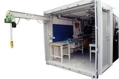 workshop led lighting in cargo container Shipping Container Workshop, Shipping Container Sheds, Shipping Container Buildings, Cargo Container Homes, Container Shop, Container House Design, Container Cabin, Home Map Design, Container Architecture