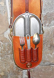 Leather Mess Kit, Add a sheath on side or backside for knife and flint and it's almost a complete bushcraft kit!