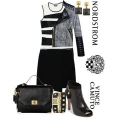 A fashion look from September 2013 featuring Vince Camuto tops, Vince Camuto jackets and Vince Camuto skirts. Browse and shop related looks.