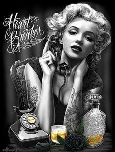 Santa Monica California New Original Travel Poster Marilyn Pin Up Art Print 171