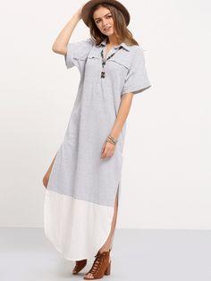 White Black V-neck Striped Split Dress