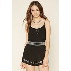 Forever 21 Women's  Contemporary Embroidered Romper ($20) ❤ liked on Polyvore featuring jumpsuits, rompers, strappy cami, tribal print romper, forever 21 rompers, tribal romper and forever 21 romper