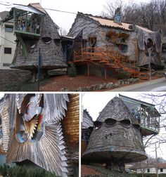 Architect Terry Brown created this much-maligned 'mushroom house', an unusual piece of architecture situated in a rather upscale area of Cincinnati. Brown's architectural style developed when he began experimenting with materials like wood, colored glass, shell, ceramics and various metals to create irregular shapes that mimic those found in nature.