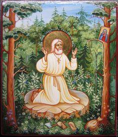 Купить икона Серафим саровский моление на камне - икона, икона в подарок, Икона ручной работы