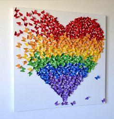 Rainbow Butterfly Art / Butterfly wall Art/ Nursery Decor /Children's Room Decor / Rainbow Art / Modern Kids Art - Made to Order Rainbow Theme, Rainbow Art, Rainbow Colors, Rainbow Butterfly, Giant Butterfly, Class Art Projects, Auction Projects, Auction Ideas, Art Auction