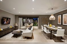 s six | Home Designs | Eight Homes | Family Room | Alfresco Family Room, Home And Family, Display Homes, Kitchen Dining, Conference Room, House Design, Table, Furniture, Home Decor