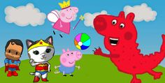 #Peppa Pig, #Sheriff Callie, #George Pig y #Pocoyo vs Dinosario, #Super ...