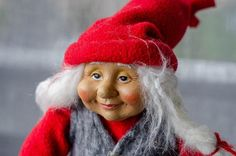 Scandinavian Santa's wife - Norwegian Swedish Nisse Tomte Christmas Ornament- Denmark Sweden Norway Christmas Elf, Christmas Ornaments, Scandinavian Holidays, Kitchen Witch, Handicraft, Winter Hats, Santa, Dolls, Etsy