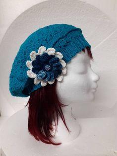 Zee blauw gehaakte dames baret €17,50 Gehaakte dames baret in de kleur zee blauw. Crochet Hats, Craft Work, Knitting Hats