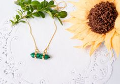 Gold Plated Necklace With malachite point by JJLeatherAndCraft
