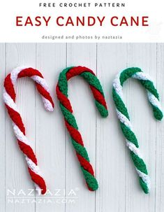 Here's a quick and very easy candy cane to crochet. With just 2 rows of single crochet stitches, this crochet pattern is perfect for a beginner. Candy Cane Decorations, Crochet Christmas Decorations, Crochet Christmas Ornaments, Christmas Crochet Patterns, Holiday Crochet, Christmas Crafts, Christmas Candy, Crochet Decoration, Christmas Parties