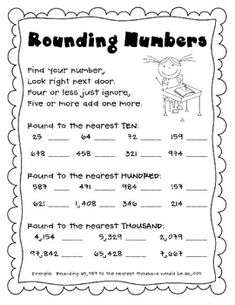 ... Rounding worksheet and Comparing, Ordering, and Rounding Numbers Test