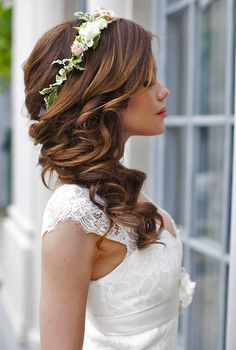 long wedding hairstyle with flower crown…