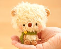 Teddy bear plushie toy in yellow made to order di knittingdreams