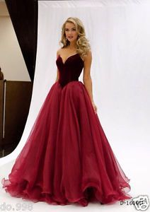 Dark Red A-Line Prom Dresses Sweetheart Formal Evening Gown Party Custom-made | eBay