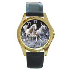 Mystic white horses gold-tone unisex round metal wrist watch. http://stores.shop.ebay.co.uk/giftpick