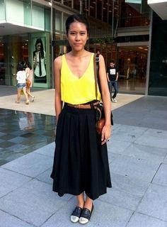 Neon shirt with maxi skirt