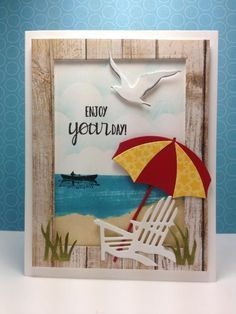 Beach, summer, Impresson obsession dies, by beesmom - Cards and Paper Crafts at Splitcoaststampers