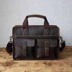 e6354d56ec1c9 Genuine Solid Dark Brown Leather Modern Vintage Laptop Bag with Slim  Design(S54) Dark