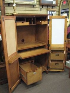 Desk in a box! Computer armoire with a place for everything and everything in its place, close the two doors and its all hidden $195. Available in-store