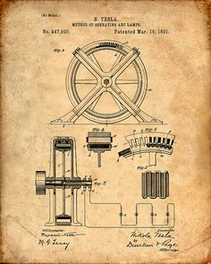Patent Print Tesla Method of Operating Arc Lamps by VisualDesign